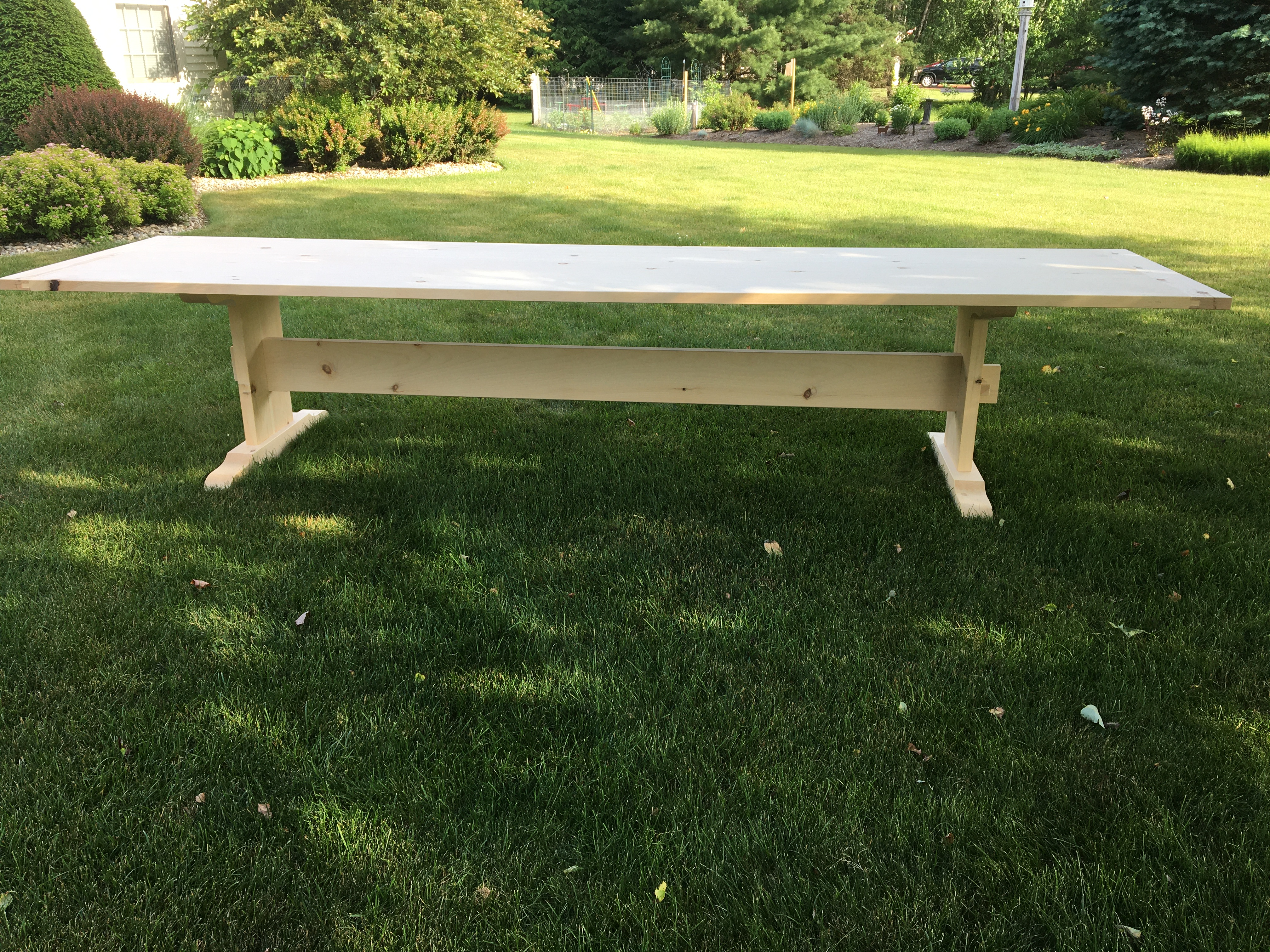 CUSTOM TRESTLE HARVEST TABLE- OUTDOOR